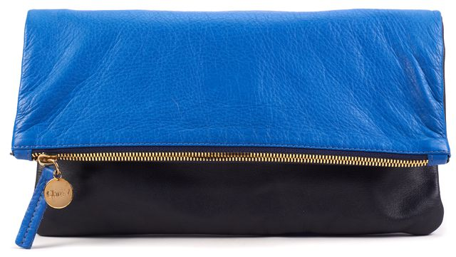 CLARE V. Royal Blue Black Leather Color-Block Clutch