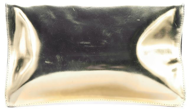CLARE V. Gold Patent Leather/Black Suede Fold Over Clutch