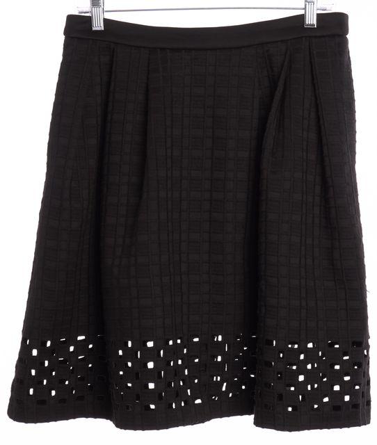 CATHERINE MALANDRINO Black Grid Woven Pleated A-Line Skirt