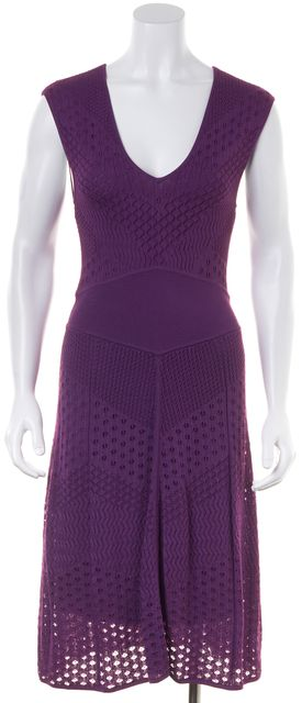 CATHERINE MALANDRINO Purple Laser Cut V-Neck Sheath Dress