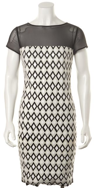 CATHERINE MALANDRINO White Black Diamond Embroidered Mesh Trim Sheath Dress