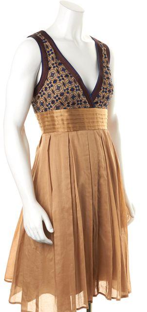 CATHERINE MALANDRINO Beige Blue Geometric Empire Waist Knee- Length Dress