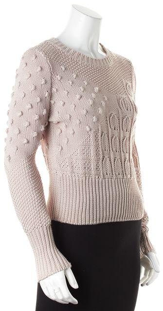 COTTON BY AUTUMN CASHMERE Beige Cotton Cable Knit Crewneck Sweater