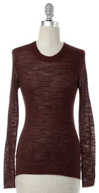 CREATURES OF COMFORT Brown Ribbed Wool Knit Top