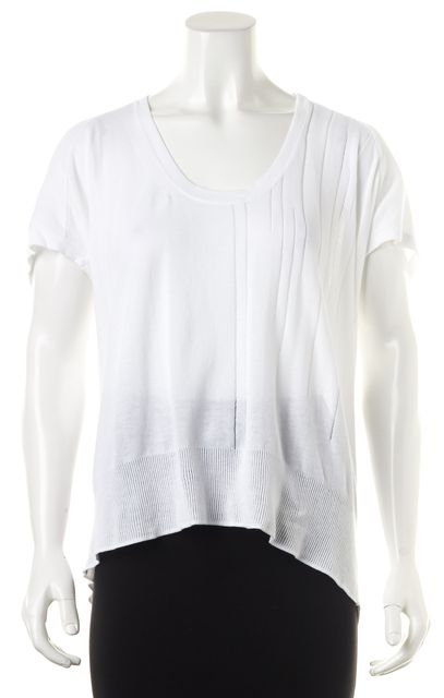 CREATURES OF COMFORT White Knit Scoop Neck Short Sleeve Blouse Top
