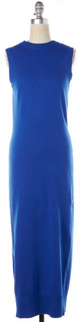 CREATURES OF COMFORT Blue Knit Sleeveless Button Back Maxi Dress