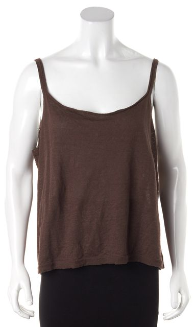 CREATURES OF COMFORT Brown Linen Knit Spaghetti Strap Tank Top