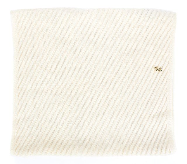COLE HAAN Ivory Ribbed Crowl Scarf