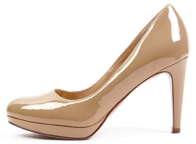 COLE HAAN Beige Patent Leather Platform Heels