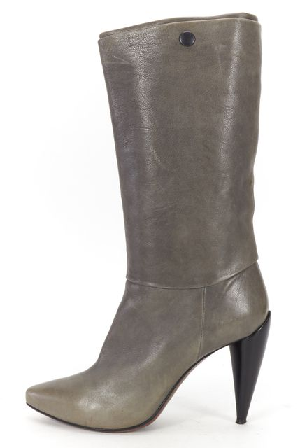 COSTUME NATIONAL Gray Leather Mid-Calf Boots