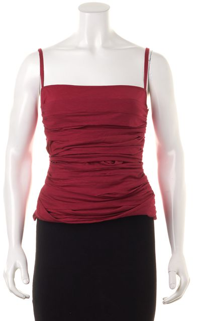 COSTUME NATIONAL Red Cotton Gathered Layered Front Tank Top
