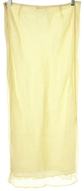 COSTUME NATIONAL Yellow Textured Crinkle Silk Maxi Skirt