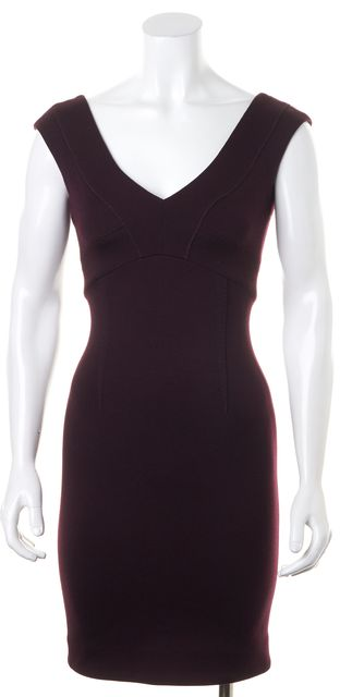 COSTUME NATIONAL Eggplant Purple Wool Scoop V-Neck Sheath Dress