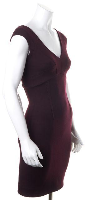COSTUME NATIONAL Eggplant Purple Wool Scoop V-Neck Sheath Dress