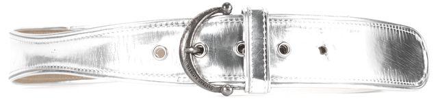 COSTUME NATIONAL Metallic Silver Leather Medium Width Belt