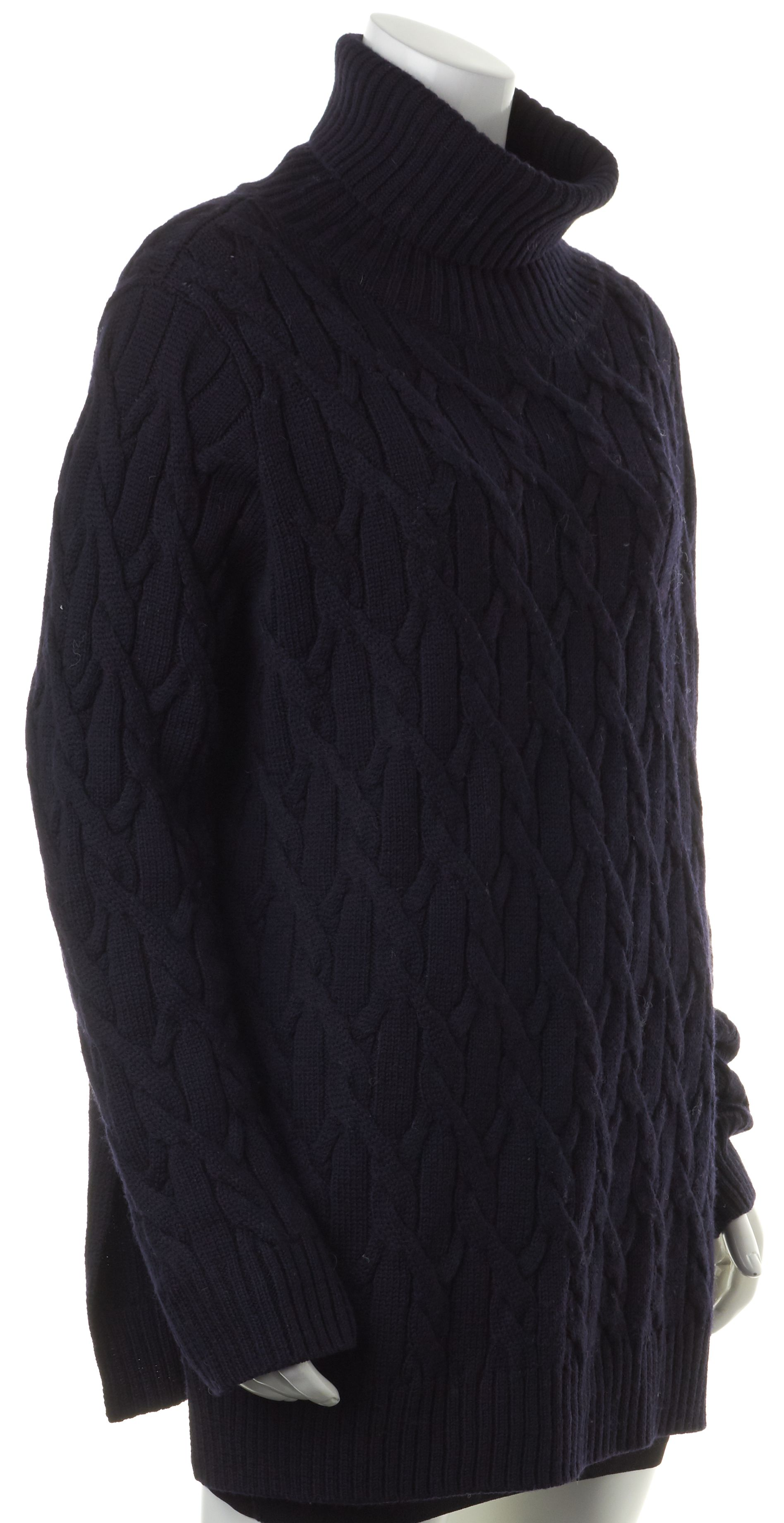COS Navy Blue Wool Cable Knit Turtleneck Sweater | Material World