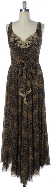 CLASS ROBERTO CAVALLI Brown Animal Print Lace Trim Belted Maxi Dress