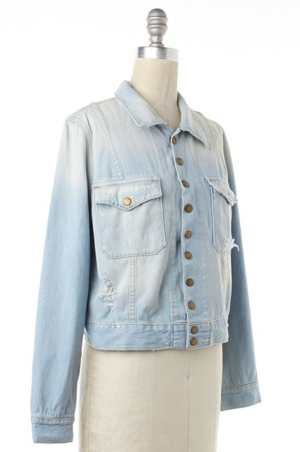 CURRENT ELLIOTT Blue Distressed Jean The Snap Jacket