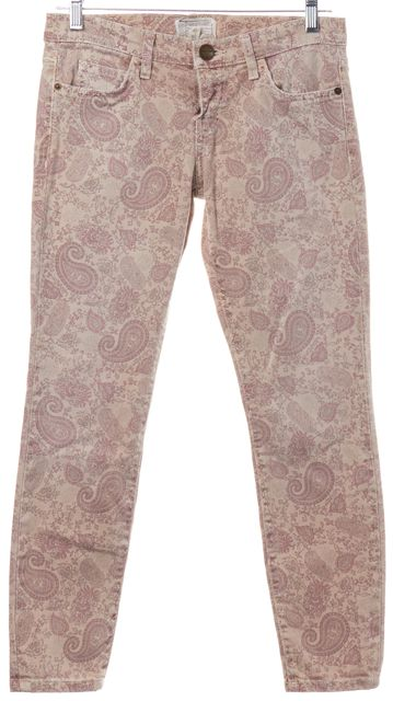 CURRENT ELLIOTT Pink Paisley Stiletto Khaki Skinny Jeans