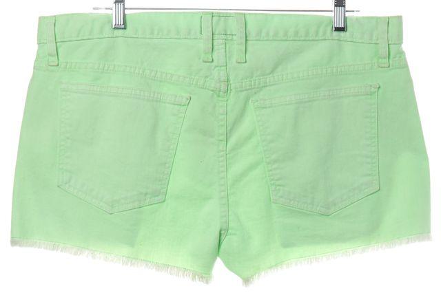 CURRENT ELLIOTT Lime Neon Green Raw Hem Denim Shorts