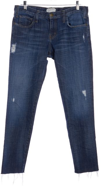 CURRENT ELLIOTT Blue Mason Destroy Distressed The Rollup Slim Fit Jeans