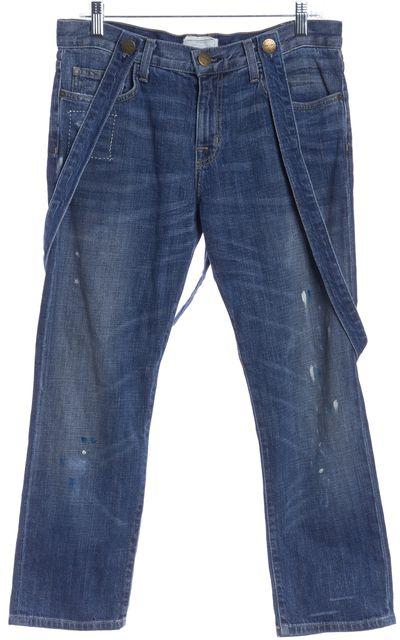 CURRENT ELLIOTT The Suspender Boyfriend Blue Overalls Jeans