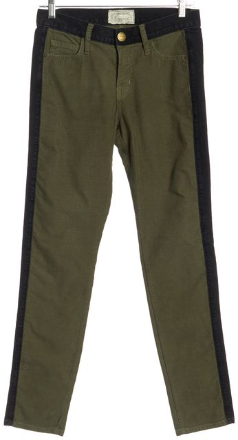 CURRENT ELLIOTT Green Black Corduroys Denim Side Panels Pants Fits Like