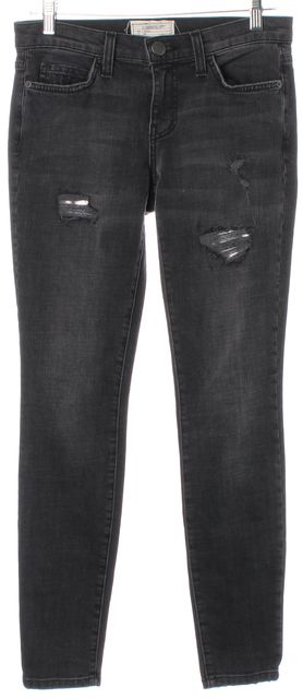 CURRENT ELLIOTT Black Silver Loved Look Luxe Destroy Ankle Skinny Jeans