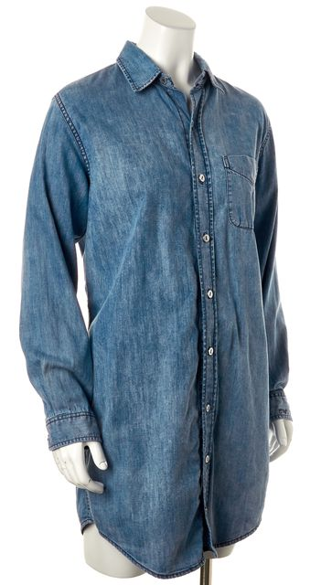 CURRENT ELLIOTT Blue Chambray Relaxed Fit Button Down Shirt Shift Dress