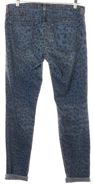 CURRENT ELLIOTT Blue Indigo Leopard Mid-Rise Rolled Skinny Jeans