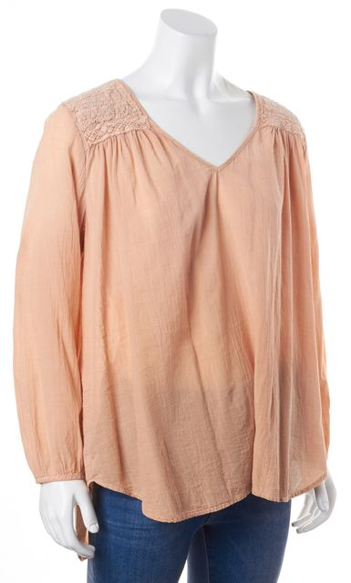 CURRENT ELLIOTT Pink Crochet Washed Stardust Picnic Blouse Top