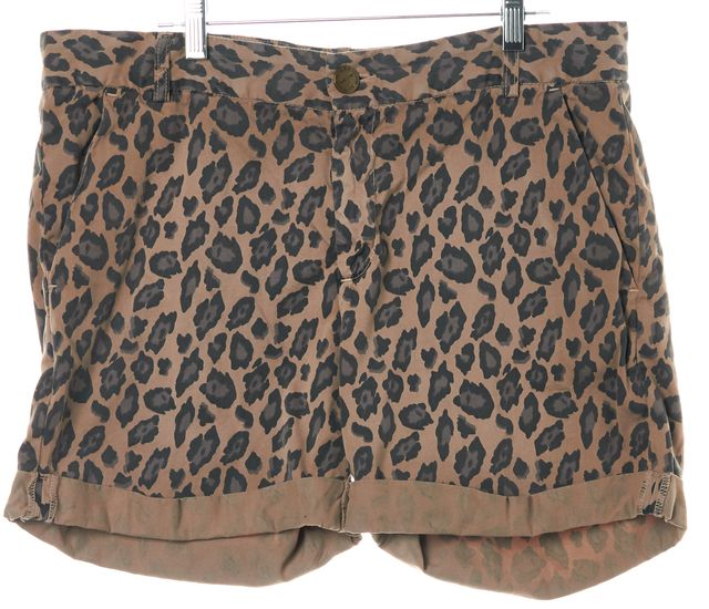 CURRENT ELLIOTT Brown Black The Captain Roll Short Camel Casual Shorts