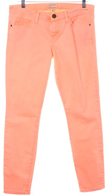 CURRENT ELLIOTT Pink The Stiletto Mid-Rise Stretch Cotton Skinny Jeans