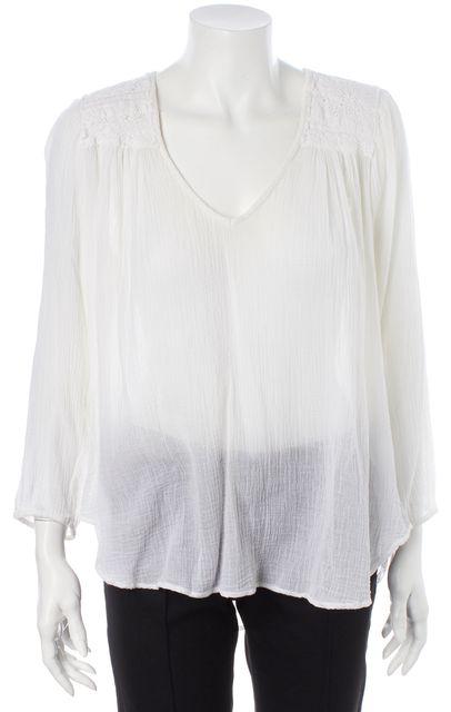 CURRENT ELLIOTT White Sugar Crochet Trim The Picnic Shirt Blouse