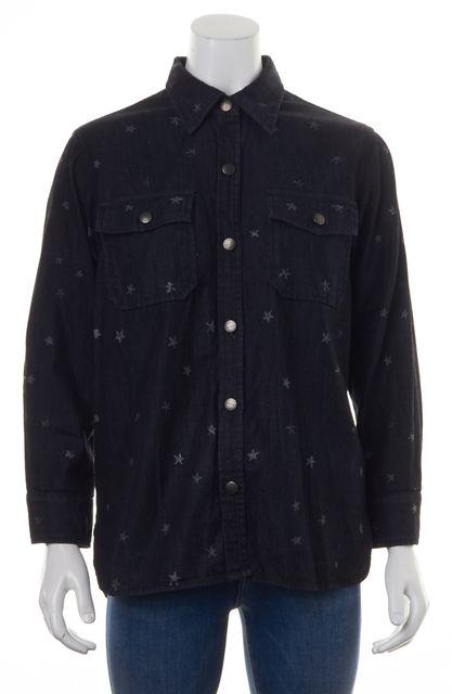 CURRENT ELLIOTT Dark Blue Denim Button Down Star Print Shirt Top