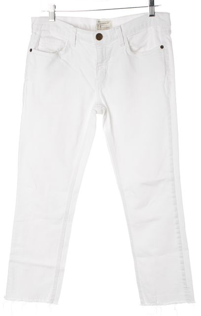 CURRENT ELLIOTT White Sugar Released Hem The Cropped Straight Leg Jeans