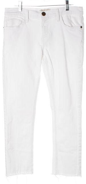 CURRENT ELLIOTT White Distressed Hem The Cropped Straight Leg Jeans