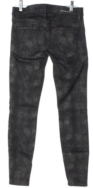 CURRENT ELLIOTT Black Silver Foil Metallic The Stiletto Skinny Jeans