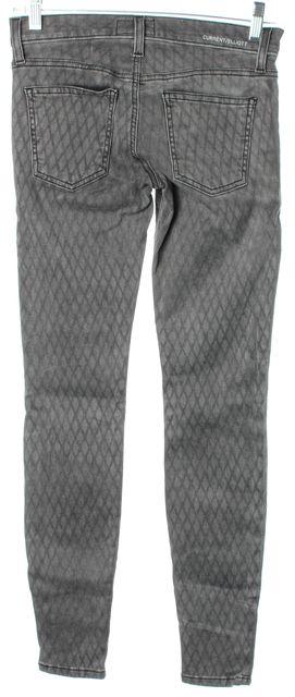 CURRENT ELLIOTT Gray Fishnet Printed The Ankle Skinny Leg Jeans