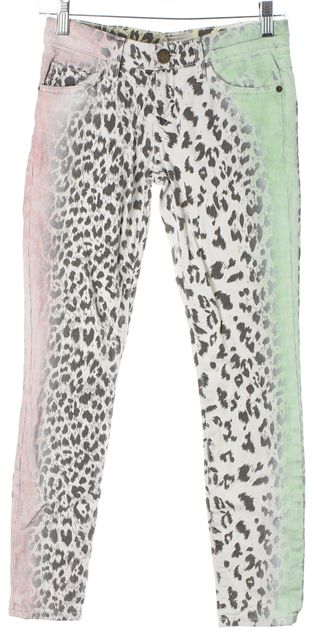 CURRENT ELLIOTT White Green Pink Leopard Print The Stiletto Skinny Jeans