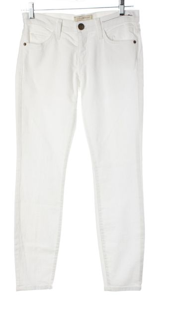 CURRENT ELLIOTT White The Stiletto Mid-Rise Cropped Skinny Jeans