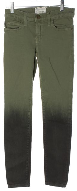 CURRENT ELLIOTT Army Green Black The Stiletto Ombre Coated Skinny Jeans