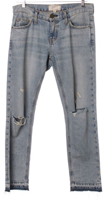 CURRENT ELLIOTT Light Blue Distressed The Cropped Straight Leg Jeans