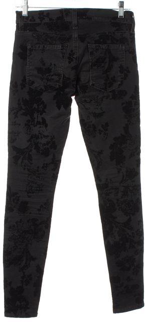 CURRENT ELLIOTT Black Velvet Floral Ankle Skinny Jeans