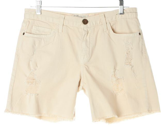 CURRENT ELLIOTT Ivory Distressed The Boyfriend Rolled Denim Shorts