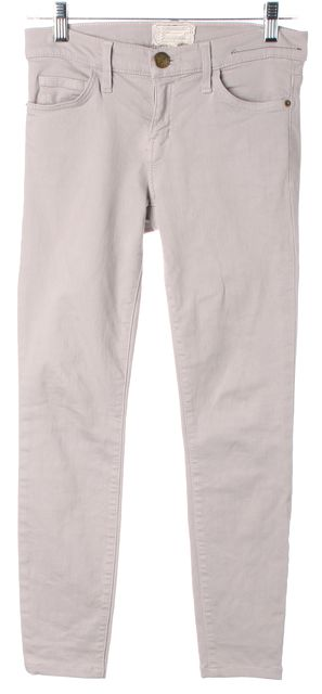 CURRENT ELLIOTT Light Gray Mid-Rise The Ankle Skinny Jeans