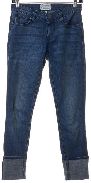 CURRENT ELLIOTT Blue Medium Wash The Cuffed Swindler Skinny Jeans