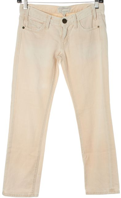 CURRENT ELLIOTT Pink Mid-Rise Stretch Cotton Cropped Jeans