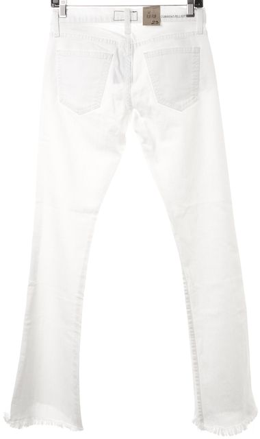 CURRENT ELLIOTT #1477 White The Flip Flop Boot Cut Frayed Leg Jeans