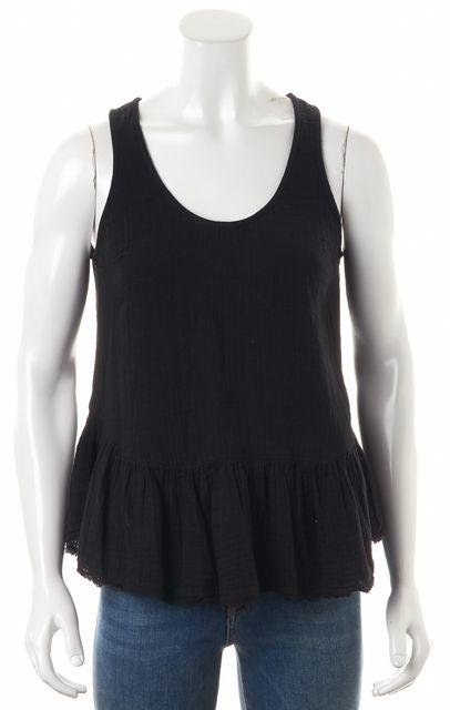 CURRENT ELLIOTT Black The Ballet Tank Ruffle Waist Sleeveless Blouse Top